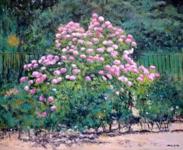 Hortensias en un jardín, cuadro al oleo.