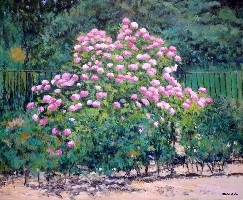 Cuadro al oleo impresionista de unas hortensias en un jardín