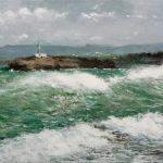 Marina de un temporal en la isla de Mouro, Santander
