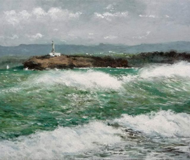 Cuadro al oleo de la Isla de Mouro, Santander