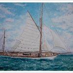 Acuarela de un velero clásico