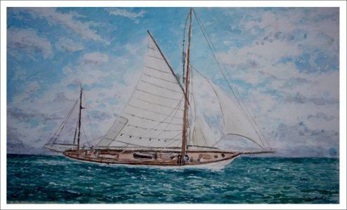 Velero clásico navegando en alta mar