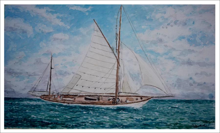 Acuarela de un velero navegando.