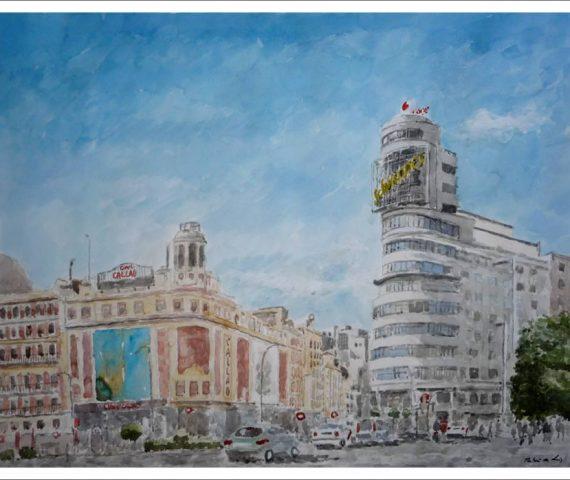 Cuadro en acuarela de la Plaza de Callao, Madrid