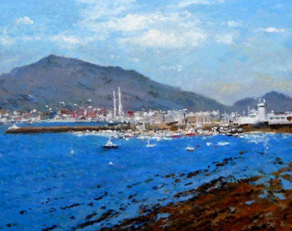 Cuadro al oleo del Puerto de El Abra, Getxo