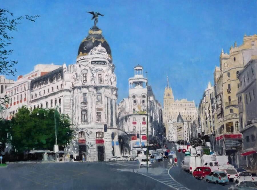 Cuadro de la Gran Vía de Madrid.