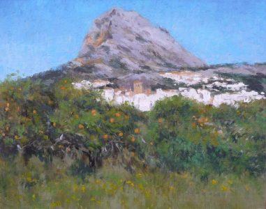 Cuadro al oleo de un paisaje del monte Montgó y Jávea