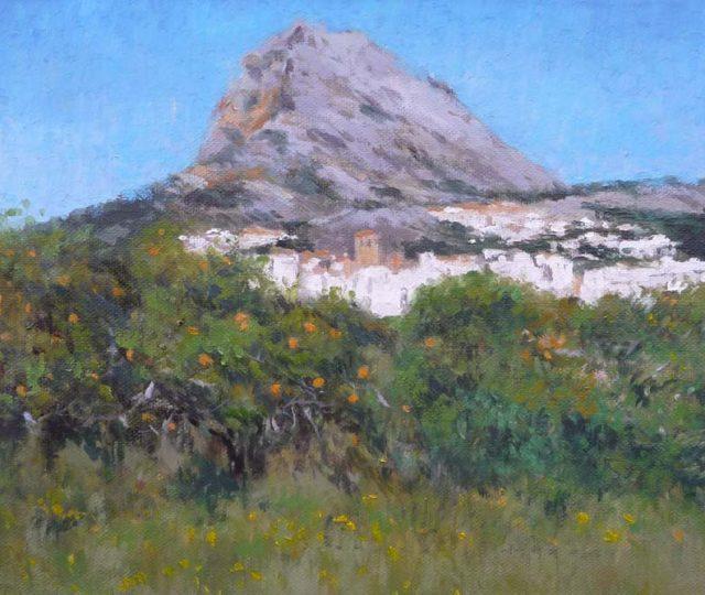 Cuadro al oleo de un paisaje del monte Montgó en Javea