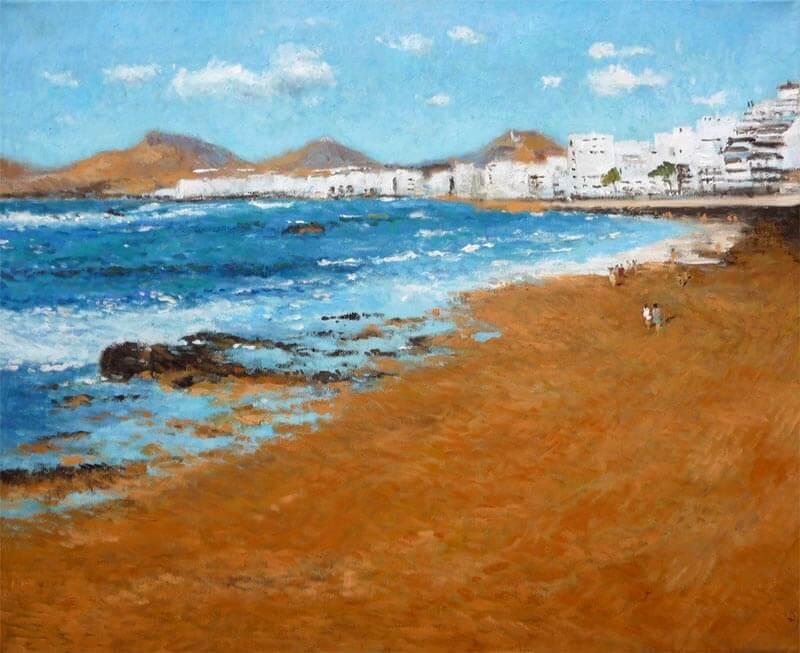 Cuadro al oleo de la playa de las Canteras, Las Palmas de Gran Canaria.