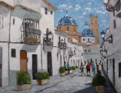 Cuadro de una calle de Altea en Alicante