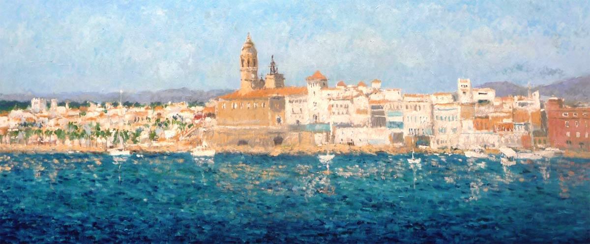 Cuadro al oleo de un paisaje de Sitges.