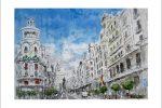Acuarela de la Gran Vía de Madrid.