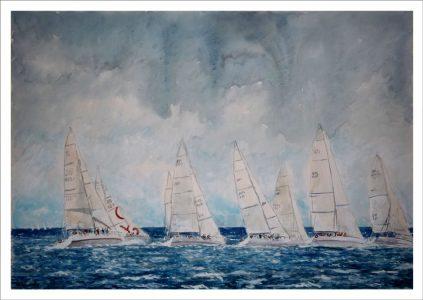 Veleros en una regata en alta mar
