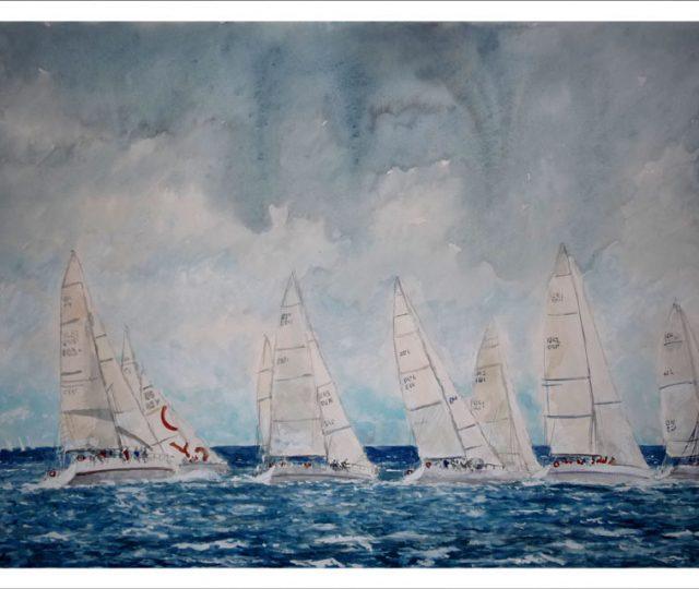 Acuarela de unos veleros compitiendo en una regata
