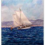 Velero navegando en la bahía de Palma