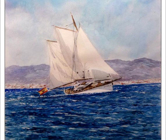 Acuarela de un velero navegando en la bahía de Palma de Mallorca