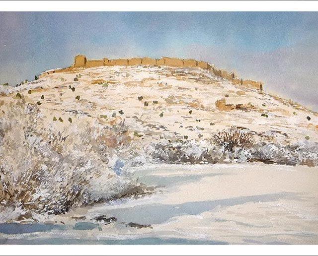 Paisaje nevado del castillo de Gormáz, Soria.