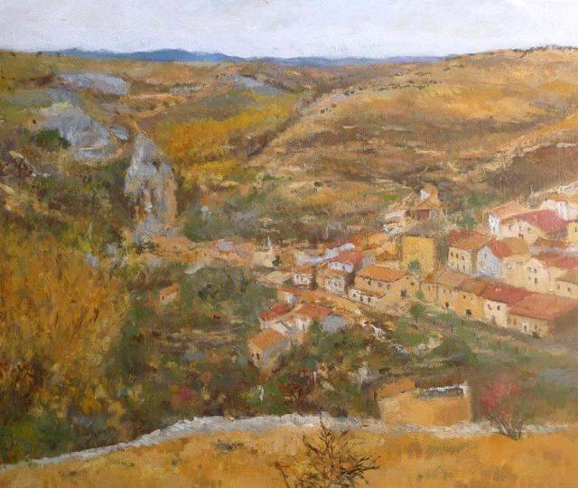 Cuadro al oleo de un paisaje de Torrevicente, Soria