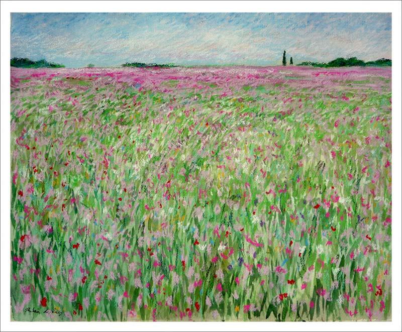 Cuadro de un paisaje de flores rosas pintado en acuarela y pastel
