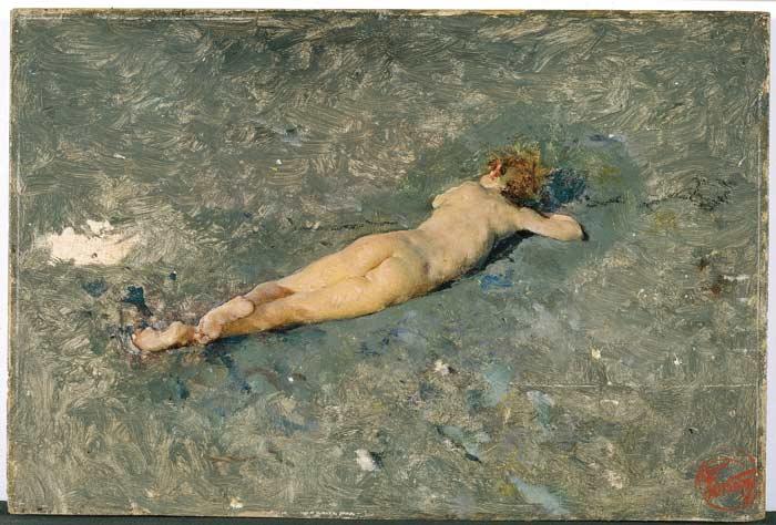 Desnudo en la playa de Portici, Mariano Fortuny