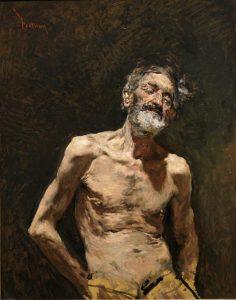 Viejo desnudo al Sol, oleo sobre lienzo, Mariano Fortuny