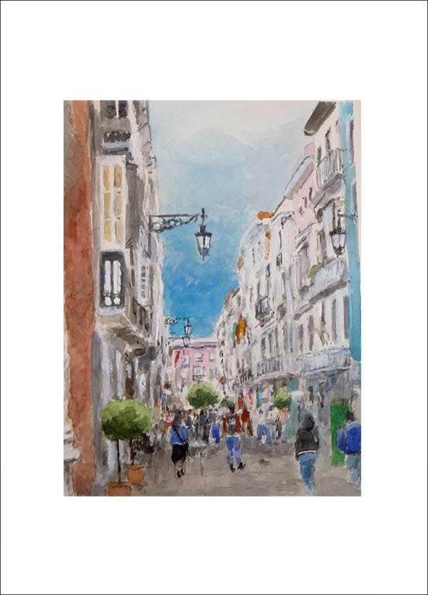 Acuarela de la Calle Ancha de Cádiz
