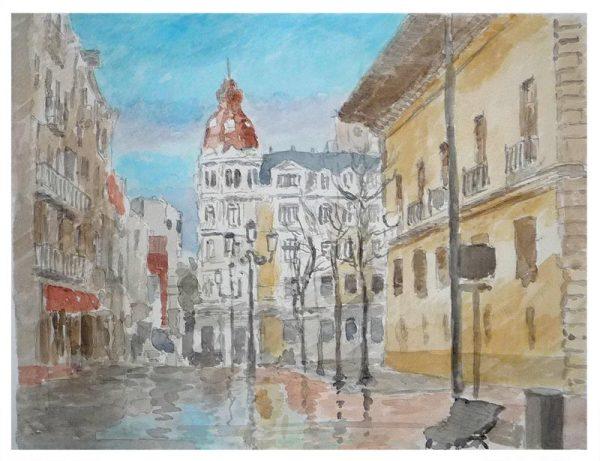 Detalle del cuadro en acuarela de la Plaza de Porlier en Oviedo