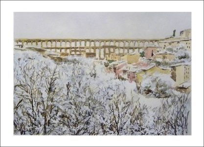 Acuarela del acueducto de Segovia nevado