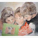 Retrato en acuarela de tres hermanos