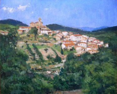 Cuadro de un paisaje de Pobla de Benifassá, Castellón.