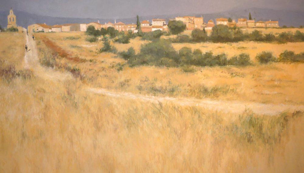 Cuadro al oleo de un paisaje de San Cebrián de Mudá, Palencia.