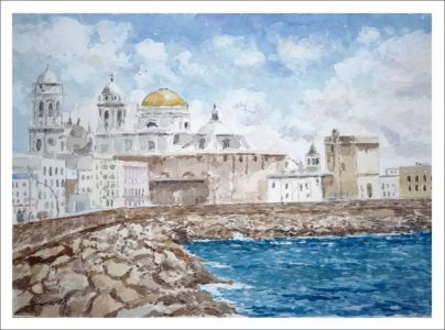 La catedral de Cádiz, acuarela.