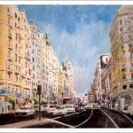 Acuarela de la Gran Via de Madrid