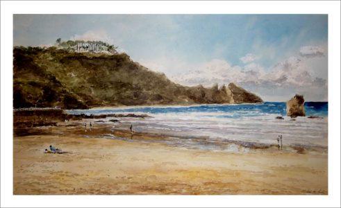Acuarela de la Playa de Aguilar, Asturias