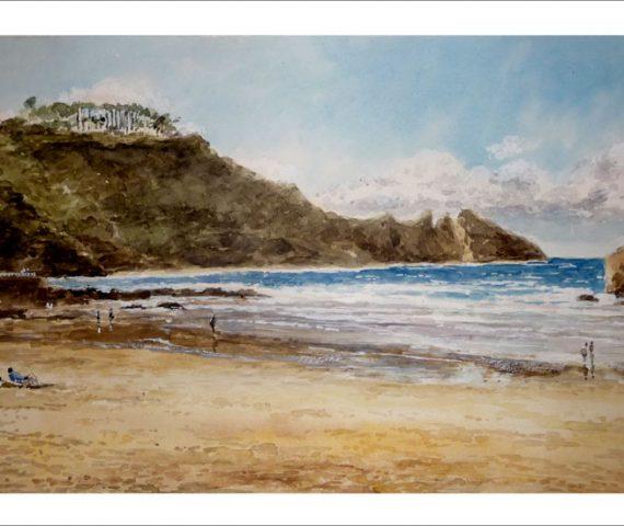 Cuadro de la playa de Aguilar, Asturias.