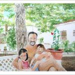 Retrato de familia en acuarela.