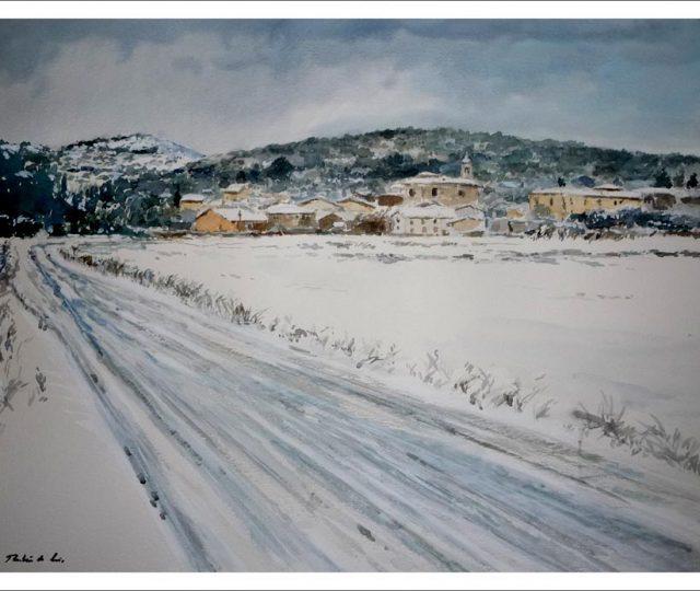 Paisaje nevado de Villafranca Montes de Oca, Burgos. Acuarela, 50x40 cms.
