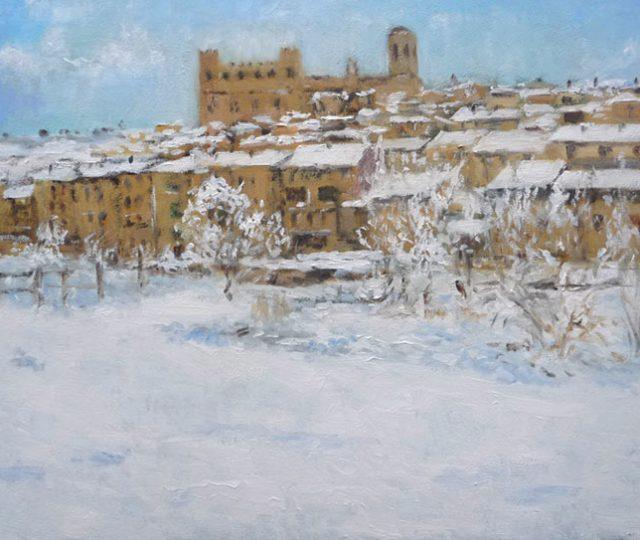 Cuadro al oleo de Valderrobres, Teruel.