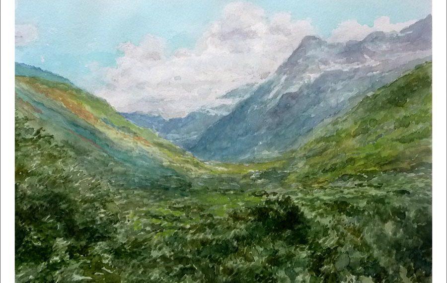 Cuadro de un paisaje del Valle de Pineta, Huesca.