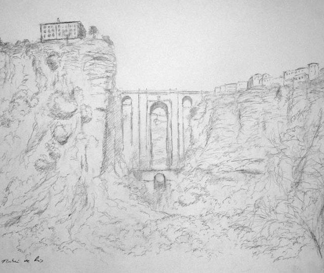 El Tajo de Ronda, Málaga, dibujo 43x29 cms