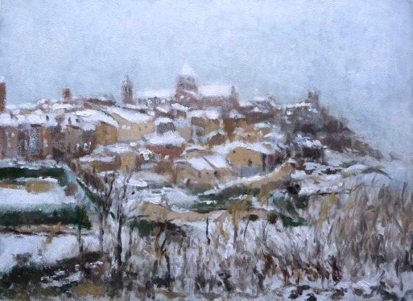 Cuadro al oleo de un paisaje de Cantavieja, Teruel.