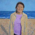 Retrato al oleo en la playa