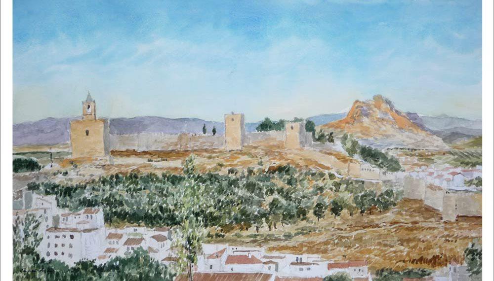 Acuarela de un paisaje de Antequera en Málaga