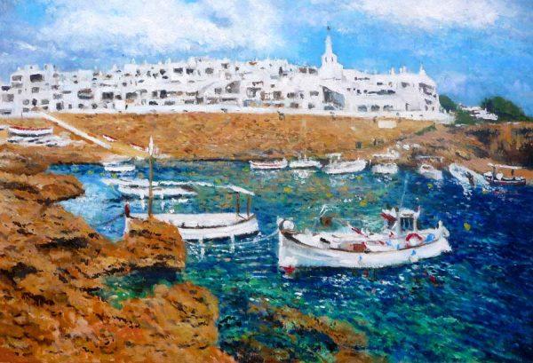Cuadro al oleo de Binibeca, Menorca