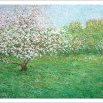 Cuadro de un manzano en flor en primavera