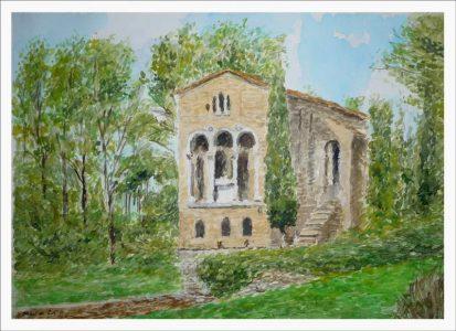 Acuarela de Santa María del Naranco, Oviedo