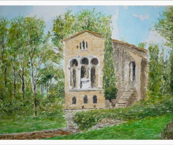 Cuadro en acuarela de Santa María del Naranco