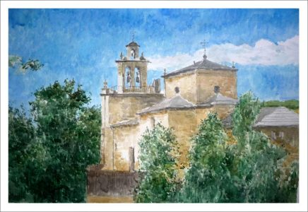 Cuadro en acuarela de la iglesia de Trefacio de Sanabria | Zamora