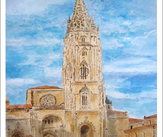 Cuadro de la catedral de Oviedo en acuarela.