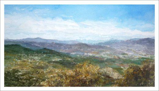 Cuadro en acuarela de un paisaje de Sierra Mágina | Jaén